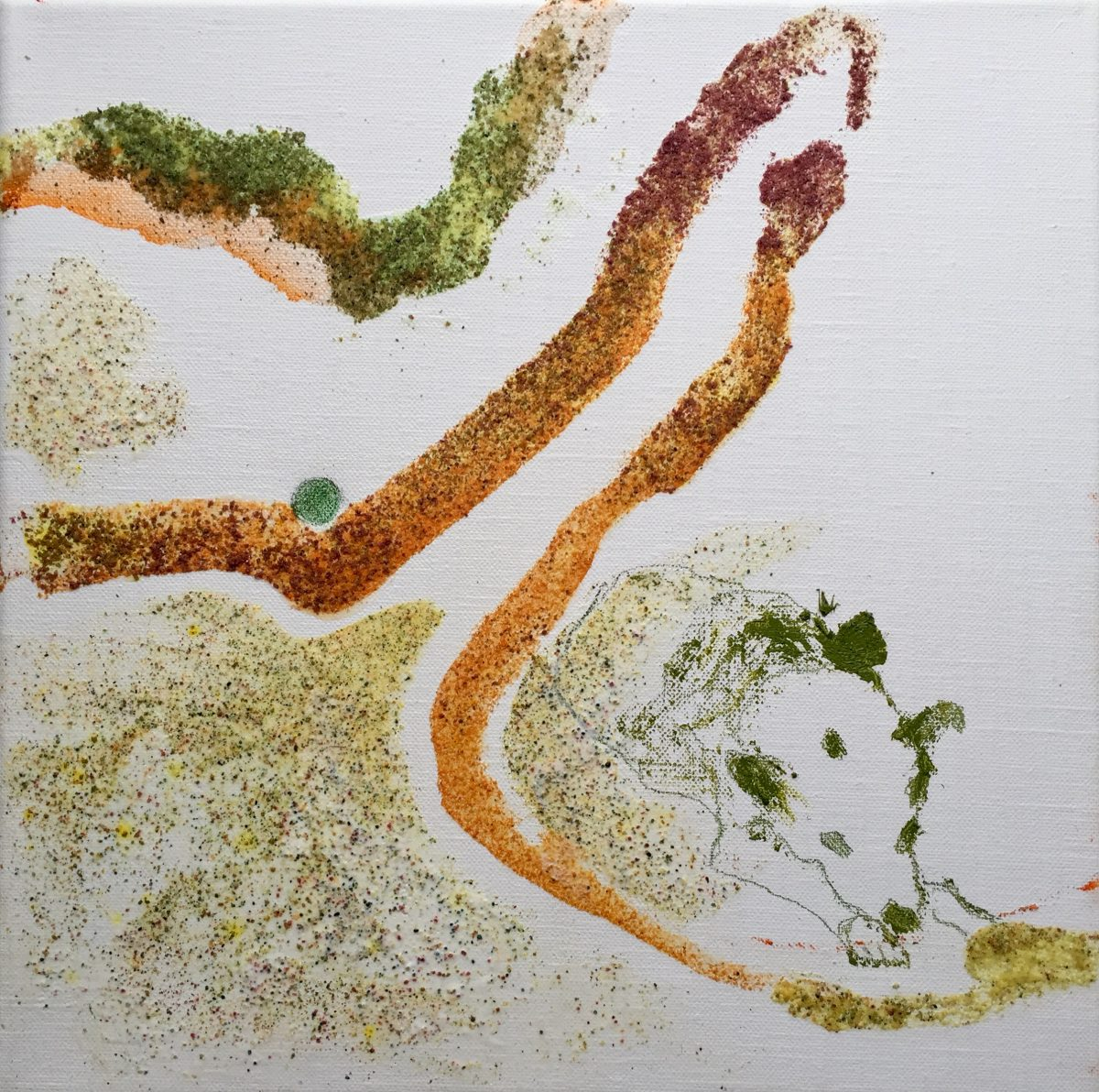 Indien 3, 30×30, Blüten, Öl, Buntstift