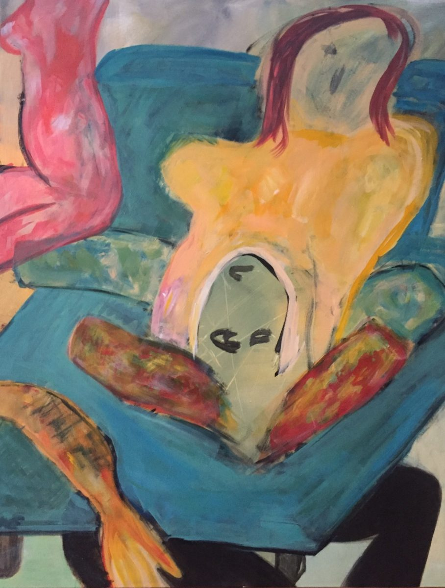 Die Leiche unter dem Bett, 100x80, Acryl