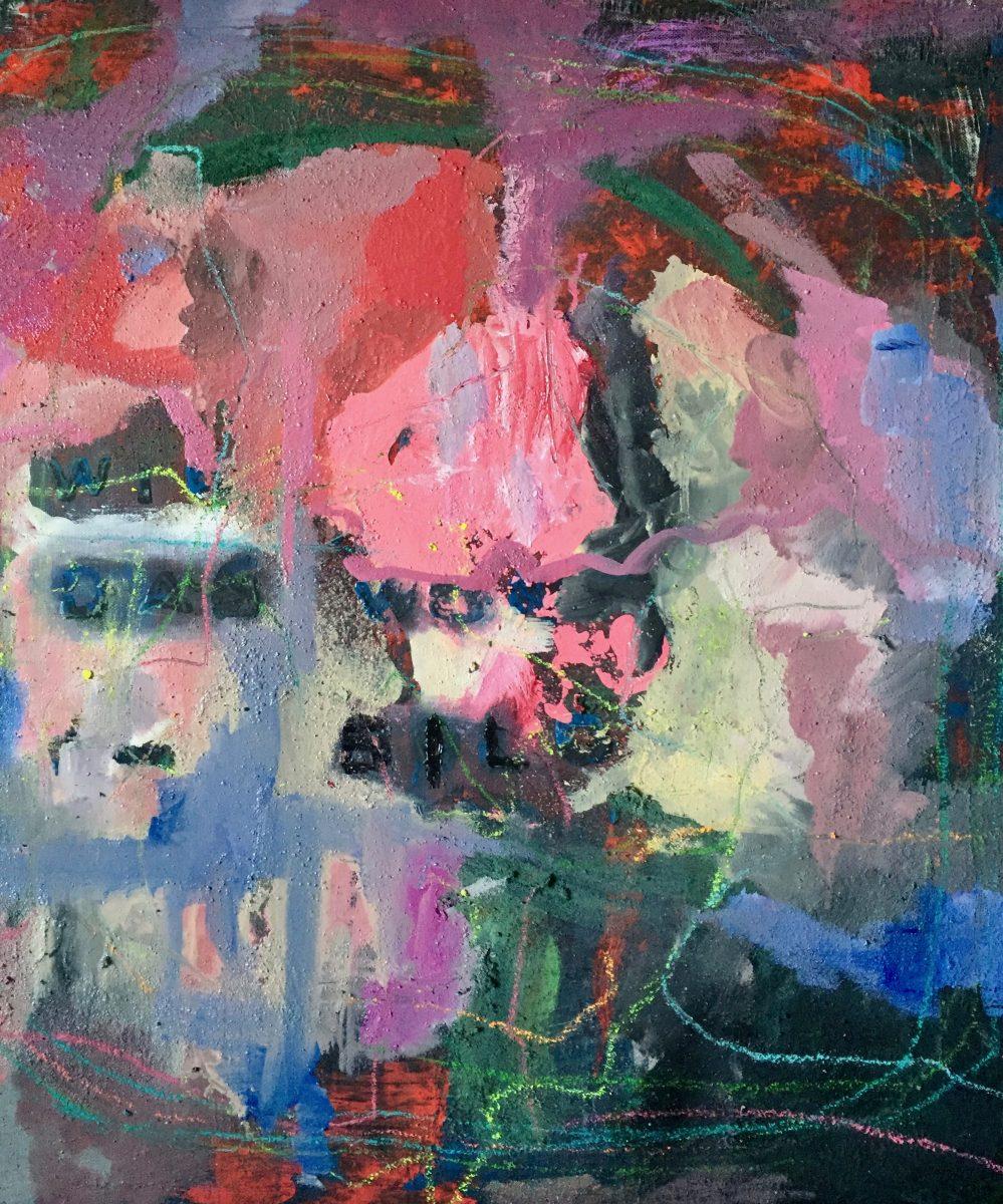 Das Wort im Bild, 60x60, Öl, Buntstift, Vinyl