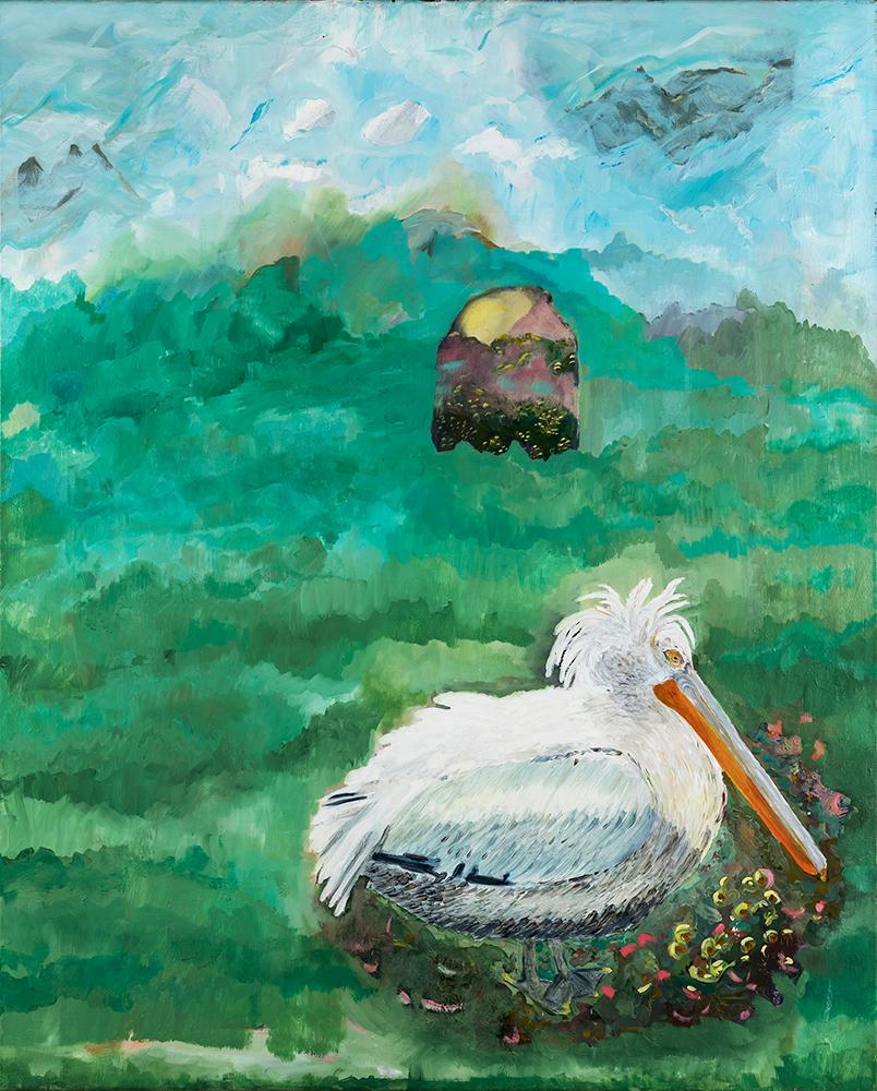 Pelikan in Salzburg, 80×100, Öl, Leinwand