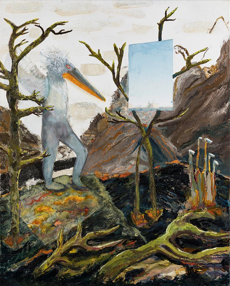 Pelikan mit Aussicht, 80×100, Mischtechnik, Öl, Sand, Papier