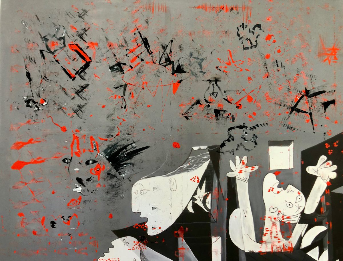 100x120, Vinylfarbe auf Druck, Auflösung, Gemeinschaftsarbeit mit Maria Luise Öhl